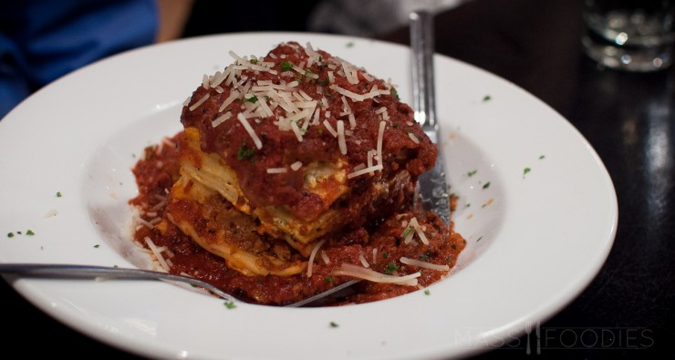 Homemade Lasagna from Compass Tavern on Harding Street in Worcester