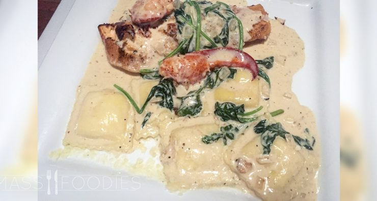Salmone Atlantico ($24)—The filet of salmon was sautéed with creamy Madeira wine sauce, fresh spinach and lobster meat served with 5 large cheese ravioli's