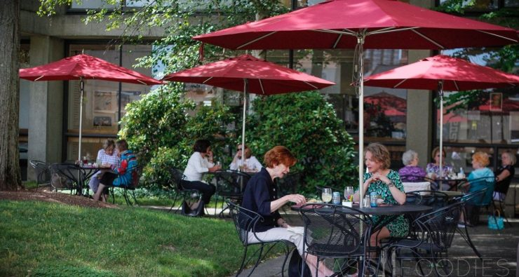 Al Fresco dining in the Courtyard of the Worcester Art Museum's Cafe in Worcester, MA